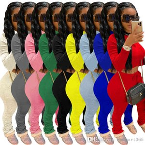 Women 2 Piece Set Tracksuits Fashion Solid Color Long Sleeve T Shirt Top Pleated Trousers Sport Outfits Ladies Casual Plus Size Jogging Suits
