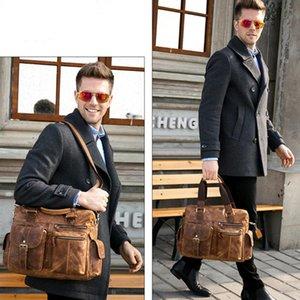 Duffel Bags Vintage Men Genuine Leather Handbags High Quality Men's Briefcase Male Office Travel Messenger Shoulder Laptop Bag