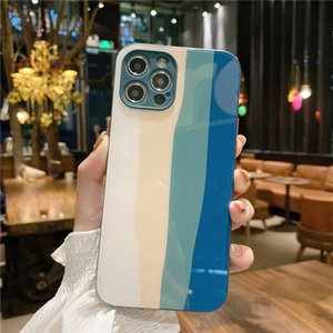 Luxury Glass Phone Cases For iPhone 12 XS Max X XR 7 8 Plus 11Pro Fashion Gradual Change Rainbow Cover