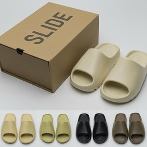 Kanye West Slides Graffiti Knochen Harz Desert Sand Designer Hausschuhe Summer Fashion Earth Brown Wohnung Slide Männer Frauen Strand Causal Sandalen