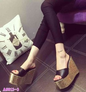 New super high 14cm slope heel 2020 spring and summer fish mouth hate Tiangao muffin shoes sandals