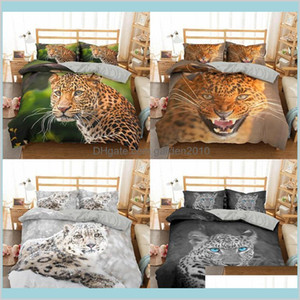 Bedding Sets Supplies Home Textiles & Garden Homesky 3D Leopard Set Soft Duvet Cover King Queen Twin Full Animal Comforter Bed Pillowc