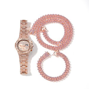 Men Necklace Iced Out Miami Cuban Chain Hip Hop Jewelry Rose Gold Silver Diamond Watch Necklaces Bracelet Set