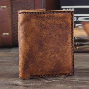 Vintage Genuine Wallet Men wallet Leather men clips male purse money bag short
