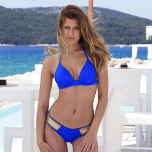 Sexy Blue Gold Stamping Badeanzug Tanga Frauen Bandage Bikini Set Halter Push Up Swimwear Gepolsterte BH 2019 Weibliche Badeanzug
