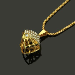 Fashion Hip Hop Jewelry Football Helmet Crystal Pendant Necklaces Women Men Gold & Silver Color Long Chain Punk Gifts