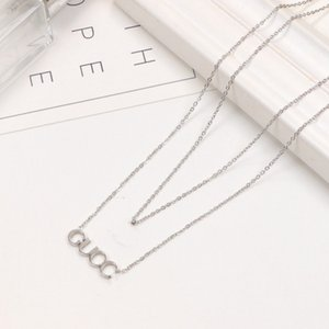 2021 High quality extravagant Design necklace double fashion love letter stainless steel women jewelry wholesale