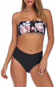 Women's 2 Pieces Swimwear Bandeau Bikini Swimsuits Off Shoulder High Waist Bathing Suit Cut u0Ja#