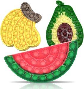 Fidget Sensory Bubble Score Toy, Fidget Push Toy для детей, POP Silicone Fidget Стрессовые игрушки для аутистичных детей взрослых сжатие игрушки аутизм (банана + авокадо + арбуз)