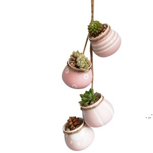Four-piece Set of Hanging Flower-pot Ceramic Air-permeable Balcony Wall-mounted Plant Pot Hanging Rustic Pastel Ceramic Planter DWD6604