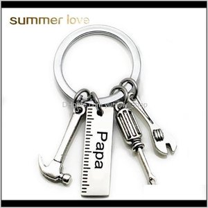 Stainless Steel Keychain Engraved Papa Grandpa Tools Rings Gift For Dad Fathers Day Creative Father Key Chain Jewelry U7Qvc I43Bs