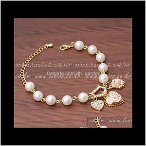 Drop Delivery 2021 Women Pearl Love Heart Flower Bracelet Rhinestone Charm Bracelets Crystal Bangle Jewelry For Wedding Party Prom Xm4Jd