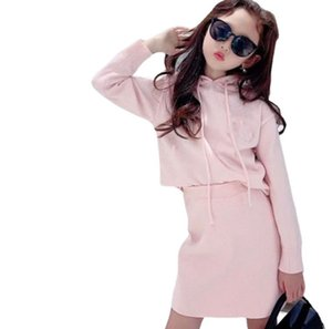 Lady style Kids Princess clothing sets Girls letter hooded long sleeve pullover +skirts 2pcs Designer Children Fall clothes A7804