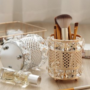 Nordic Light Luxury Crystal Makeup Brush Storage Tube Finishing Rack Silver Gold Style Exquisite 2021 Boxes & Bins
