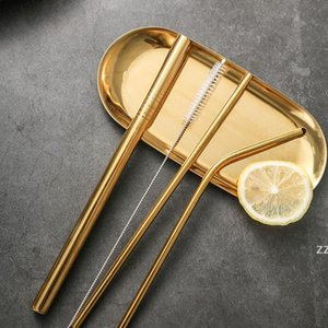 5 Piece Sets Milk Tea Straw Stainless Steel Solid Color Drinks Milks Straws Set Food Grade Drinkware Restaurant Bar Supplies HWF11046