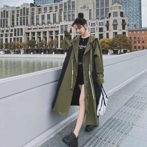 Women's Trench Coats Army Green Hooded Long Sleeve Zippers Loose Windbreaker Woman Casual Fashion 2021 Autumn Coat