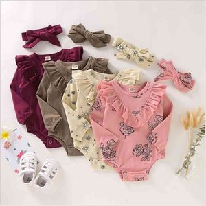 Baby Girls Clothes Kids Floral Flowers Rompers Headband Clothing Sets Child Ruffle Solid Jumpsuit Hairband Outfits INS Triangle Onesie C6786