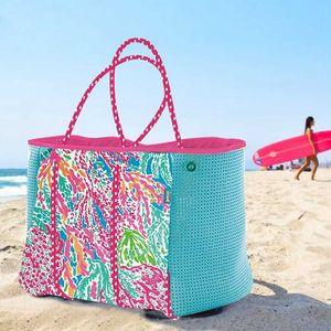 Design luxury handbag DIY Neoprene Beach Bag Fashion Trapeze Tote Handbags Women Party Bags