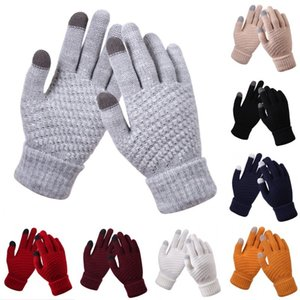 Trellis Knitted Glove Solid Color Non Slip Thickening Mittens Winter Warm Lady Touch Screen Wool Gloves Woman 4 2dq G2