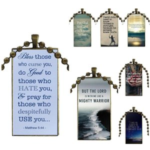 God Is Love Christian Bible Fashion Glass Cabochon Necklace With Women Statement Pendant Rectangle Necklaces Jewelry For