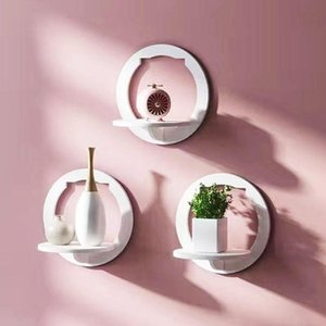 Wall Shelf Punch Free Wall-mounted TV Background Hanger Bedroom Flower Pot Stand Home Storage Organization Pretty Ornament Hooks & Rails