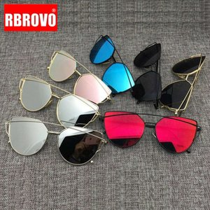 RBROVO 2021 브랜드 디자이너 눈 선글라스 지문 금속 여성을위한 유리 반사 레트로 oculos de sol gafas