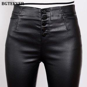 Women's Pants & Capris BGTEEVER Stretch Fleece Winter Leather Women PU Warm Female Pencil Velvet Trousers Slim Single-breasted 2021