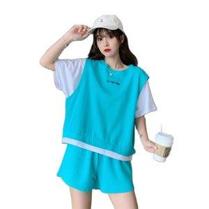 Tyjtjy женский трексуит 2021 новая модная корейская версия из двух частей набор свободных повседневных модных спортивных костюмов женщин