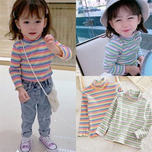 Spring Autumn 2-10 12 Years Children'S Sweet Long Sleeve Colorful Striped High Neck Basic Turtleneck T-Shirt For Kids Girls 1031 V2