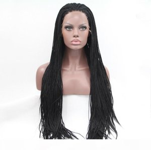 Box Braid Wig Synthetic High Temperature Fiber Hair Lacefront 2 Tone Color Ombre Grey Silver Braided Lace Front Wigs For African American