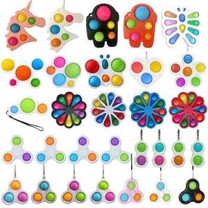 Novas-estilos dedo divertimento Fidget Bolha Brinquedos Empurre Simples Chave Sensory Sensory Bolas Bolhas Keychain Unicórnio Flor Borboleta H32HKF1