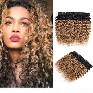 Ombre Blonde Water Wave Hair Bundles Peruvian Curly Hair 1B 27 Honey Blonde 10-24 inch 3 4 Pieces 100% Remy Human Hair Extensions