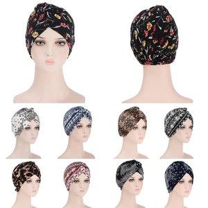 Мода Цветочный принт Мусульманской тюрбана Шляпа для женщин Внутренний Хиджаб Шапки Исламбан Turban Arab Wrap Femme Musulman Turbante Mujer