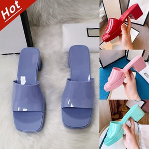 Jelly Luxury woman Crystal slipper Top quality designer lady Sandals summer fashion jellys slide high heel slippers Casual shoes Womens Leather Alphabet beach shoe