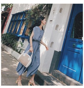 FactoryRX4W style women's Korean summer 2021 new popular the French minority Knee Length dress