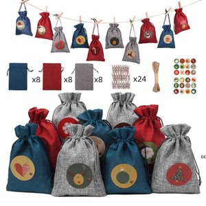 Christmas Decoration Hanging Drawstring Bag with Numbers Reusable Linen Small Pocket Wooden Clips 10 Meters Rope Xmas Tree Decor DHE10016