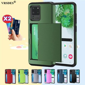 For S20 FE S21 Ultra S10 E S9 S8 Plus Armor Slide Card Slots Cover Galaxy Note 20 10 5G 9 8 S7 Edge Case Cell Phone Cases