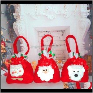 Santa Claus Dstring Christmas Gift Handbag Xmas Decoration Kids Snowman Bear Candy Storage Bags Festival Party Bh1582 Sk 9Ejqx