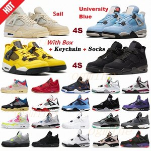2021  air jordan jordans jordon aj aj4 4 4s union noir guava ice men shoes sail Mushroom Neon metallic purple basketball Sneakers Black cat bred Trainers 36-47