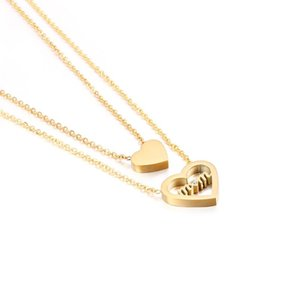 Japanese And Korean Love Ladies Clavicle Chain Titanium Steel Small Peach Heart Gold Color Mother Daughter Double N Chains