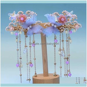 Aessories & Tools Hair Productshair Pins Hanfu Headdress, Childrens Pin, Costume Aessories, Girls Butterfly, Ancient Style Drop Delivery 202