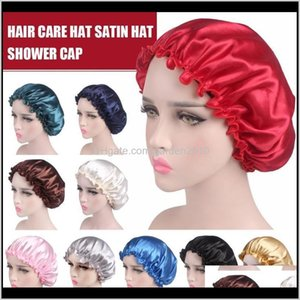 Bathroom Accessories Bath Home Garden Drop Delivery 2021 For Ladies Resuable Women Satin Bonnet Cap Night Sleep Hat Silk Head Wrap Adjust Sho