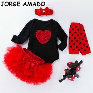 Clothing Sets Baby Girl Birthday Romper Bodysuit+TUTU Skirt+Socks +Shoes+Headband Cotton 5pcs Outfits born Clothes YK021 SNS6
