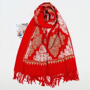 scarves Ethnic style Embroidery Flower imitation cashmere scarf dual purpose thickened warm tassel air conditioning Cape Tibet Tourism