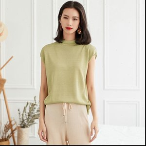 Womens Sweater summer style collar ice silk sleeveless thin bottoming shirt temperament slim pullover