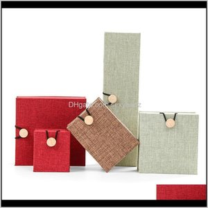 Boxes Packaging & Drop Delivery 2021 Burlap Wooden Buckle Jewelry Bracelet Bracelets Ring Storage Pendant Necklace Jade Packing Display Box W