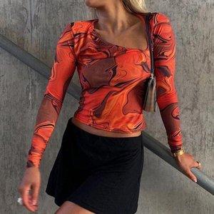Kravat Boya Baskı Uzun Kollu Kırpma Üst Kadın Y2K Rahat Yaz Bahar Estetik Harajuku Kesip Portakal Seksi T Shirt 90s kadın T-shirt