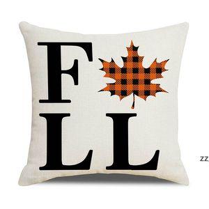 Halloween Fall Pillow Case 18x18inch Buffalo PlaHWE9976id Pumpkin Leaf Pillows Decorative Throw Farmhouse Autumn Cushion Cover HWE9976