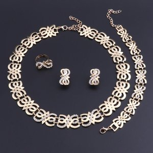 Earrings & Necklace OEOEOS Women Wedding Bridal Party Crystal Gold Color Fine Statement Bracelet Rings Set