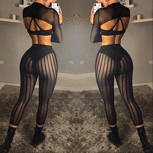Women Leggings Sexy Perspective Push Up High Elastic Waist Stripe Mesh Patchwork Slim Trousers Club Wear 3 Black Pants